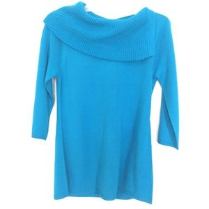 Spense, turquoise, split cowl neck sweater